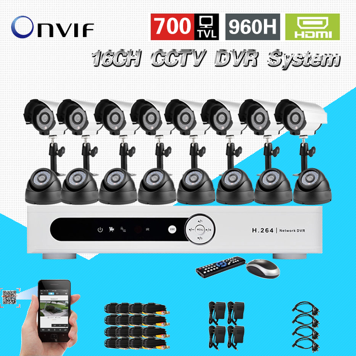 TEATE Mobile view remotely 700TVL outdoor indoor night vision CCTV video camera system security surveillance 16ch DVR kit CK-205 16ch video camera recorder dvr with 16pcs outdoor waterproof ir day night vision surveillance camera 16ch security sytem dvr kit