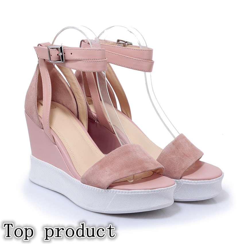 Genuine Leather Women Platform High Heel Wedge Gladiator Sandals Shoes Woman High Heels Wedges Sandals phyanic 2017 gladiator sandals gold silver shoes woman summer platform wedges glitters creepers casual women shoes phy3323