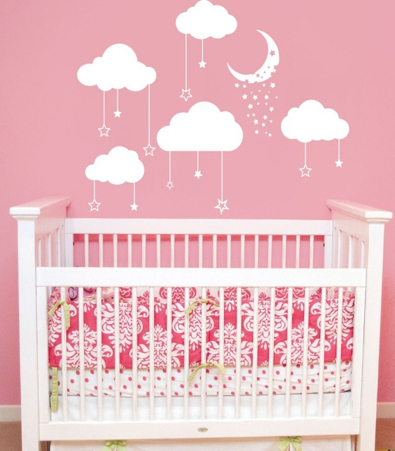 Lovely Clouds Moon Wall Stickers For Kids Room Living Room Baby ...
