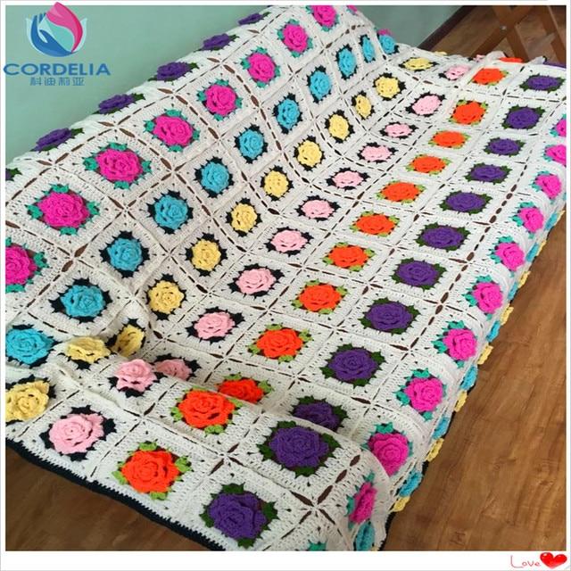 2015 nueva moda de lujo algodón crochet 3D flor cubierta de sofá ...