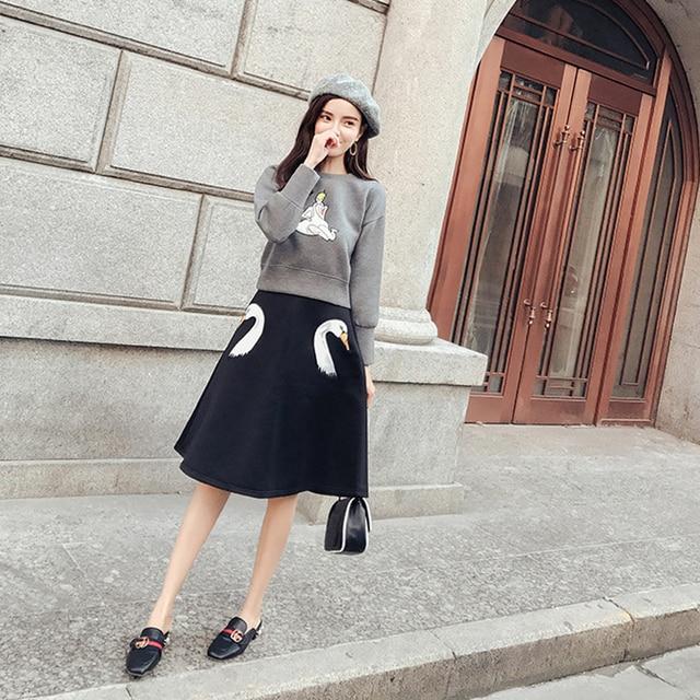 170444d758fa Two Piece Skirt Set Women Autumn Winter 2019 Fashion O neck Long ...
