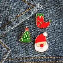 1 Pcs Creative Cartoon Cute Santa Socks Christmas Tree Enamel Pin Badge Clip Brooches Decoration Pins Christmas Gift For Kids