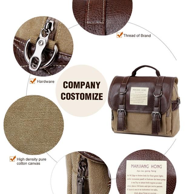 Leather Men Messenger Bags Vintage Shoulder Bag Men Canvas Casual Crossbody Bags For Men Male Handbag 5