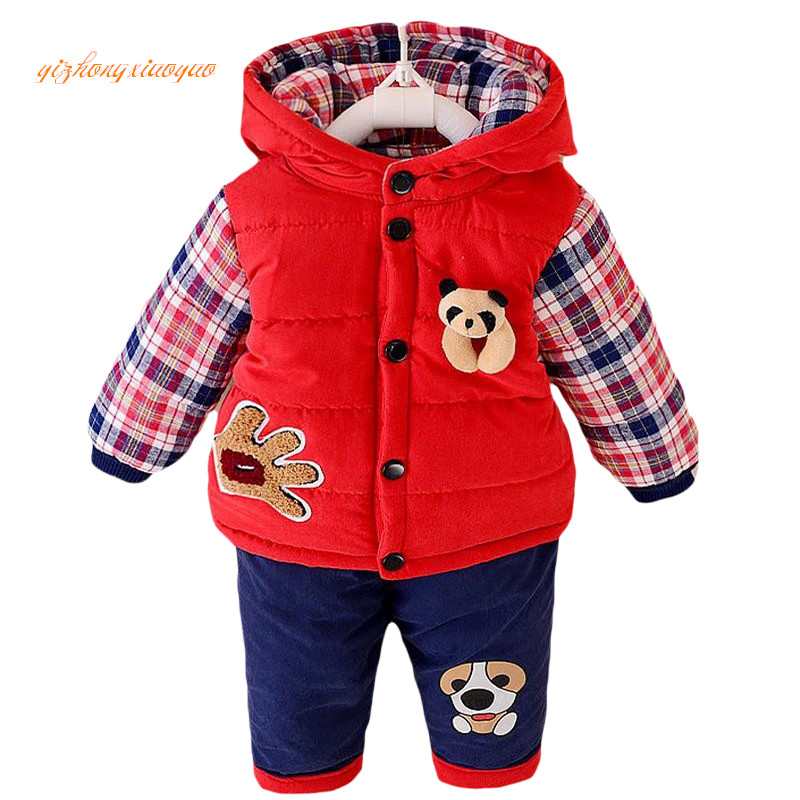 2016 new autumn/Winter baby boys lamb warm clothing set suit kid thickening clothes set children Korean 2 pieces