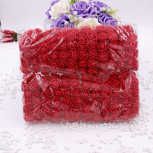 144pcs 2cm Mini Foam Rose Artificial Flower Bouquet Multicolor Wedding Decoration Scrapbooking Fake Gift