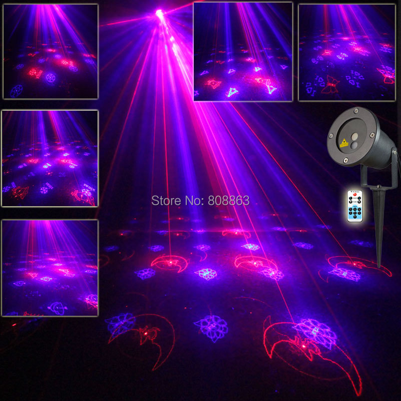 Outdoor Waterproof R&B Laser 12 Christmas Patterns Projector Remote Holiday Home Tree Wall Lighting Garden Landscape Light T53 new generation of led outdoor firefly light projector waterproof display landscape square garden tree christmas laser lighting page 9 page 8