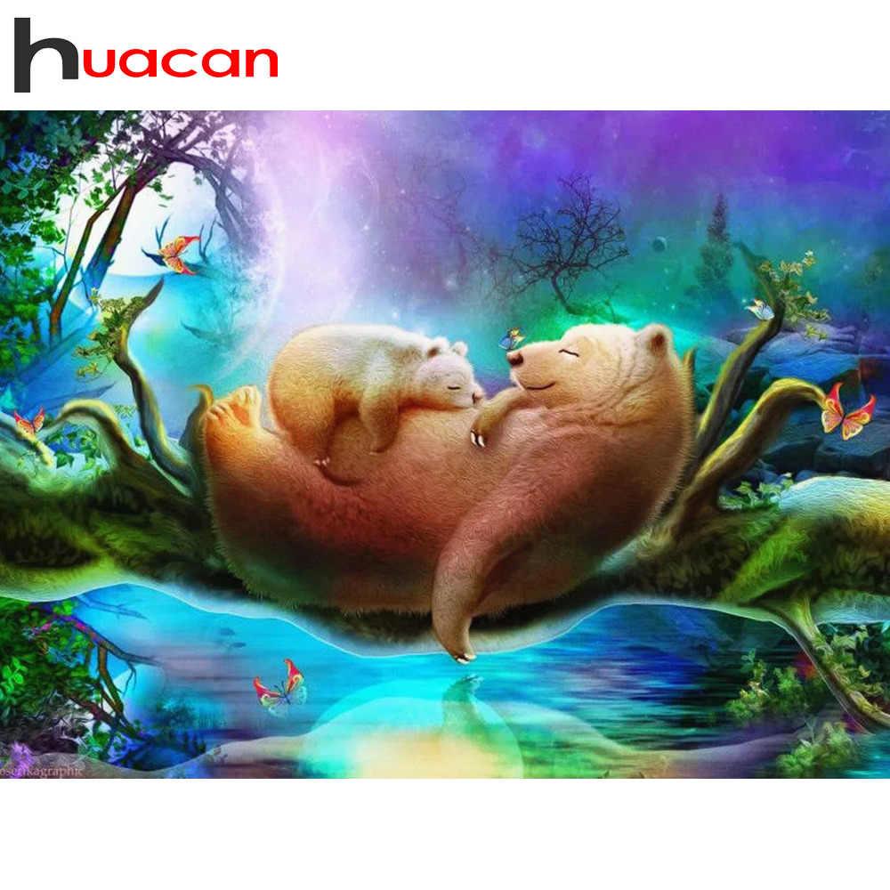 Huacan алмазная живопись полный квадратный/круглый Новое поступление Алмазная вышивка с медведем полный набор живописные Стразы