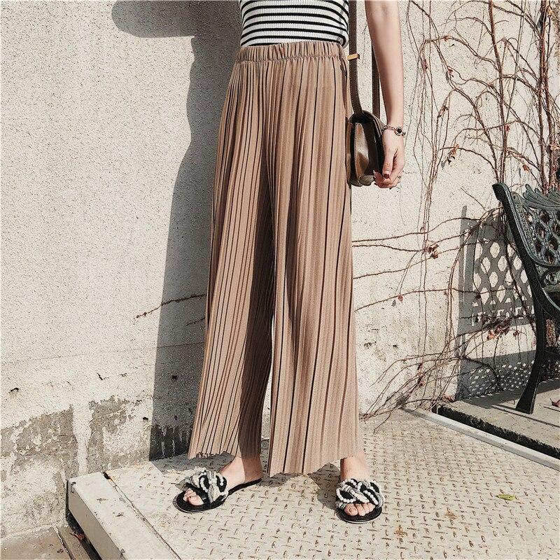 Új, nagy derékú női sifon széles lábú nadrág tömör színű - Női ruházat