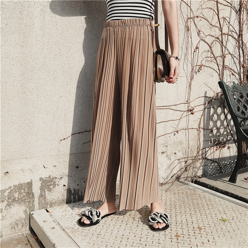 New High Waist Women Chiffon   Wide     Leg     Pant   Solid Color Wrinkle Vertical Stripes Casual   Pants   Loose Large Size Fmale Trousers