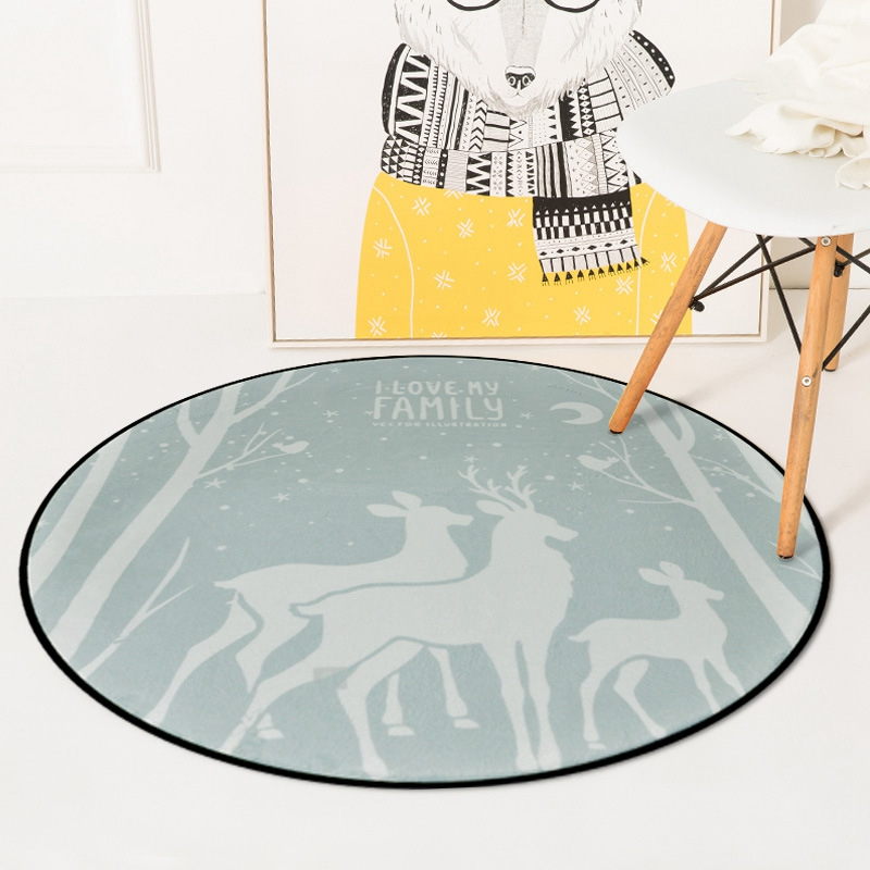Nordic Sweet Deers Round Carpets For Living Room Bedroom Chair Area Rugs Children Room Play Tent Kids Soft Floor Mat Carpet Rug