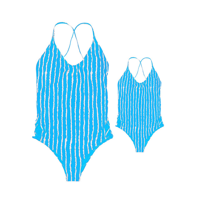 2018 Mom And Daughter Swimsuit Summer 2018 Striped Matching Mommy And Me Clothes Backless Family Look Mother Dauaghter Swimwear