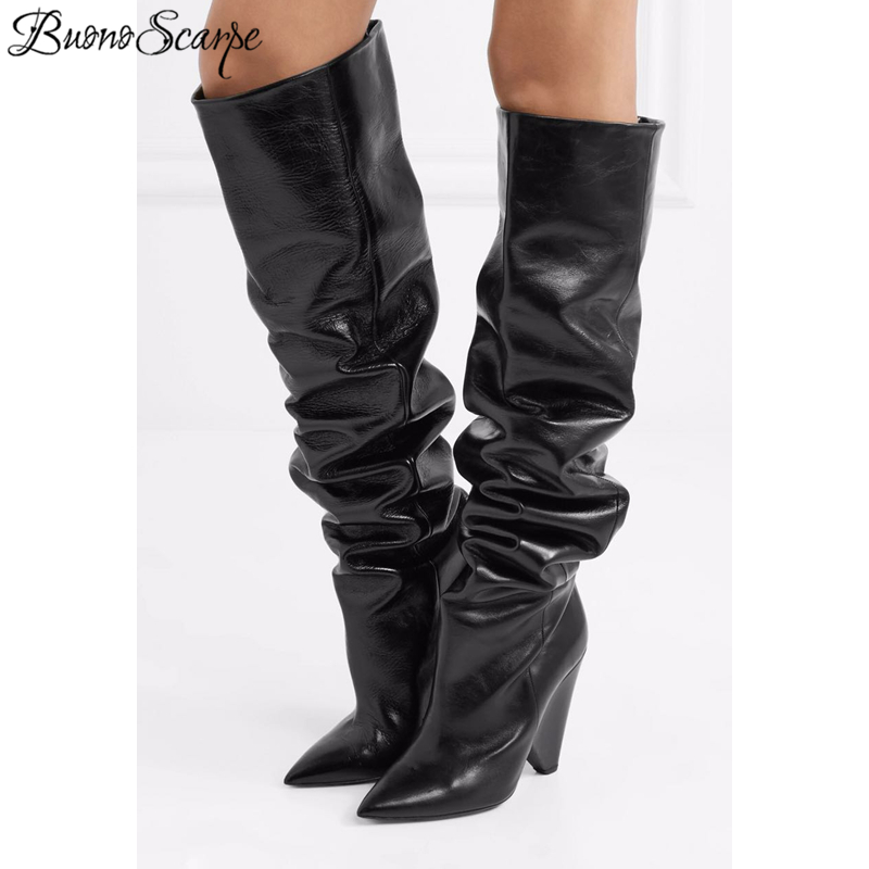 BuonoScarpe 2019 Cow Leather Knee High Boots Woman Pointed Toe Strange High Heel Shoes Women Chic