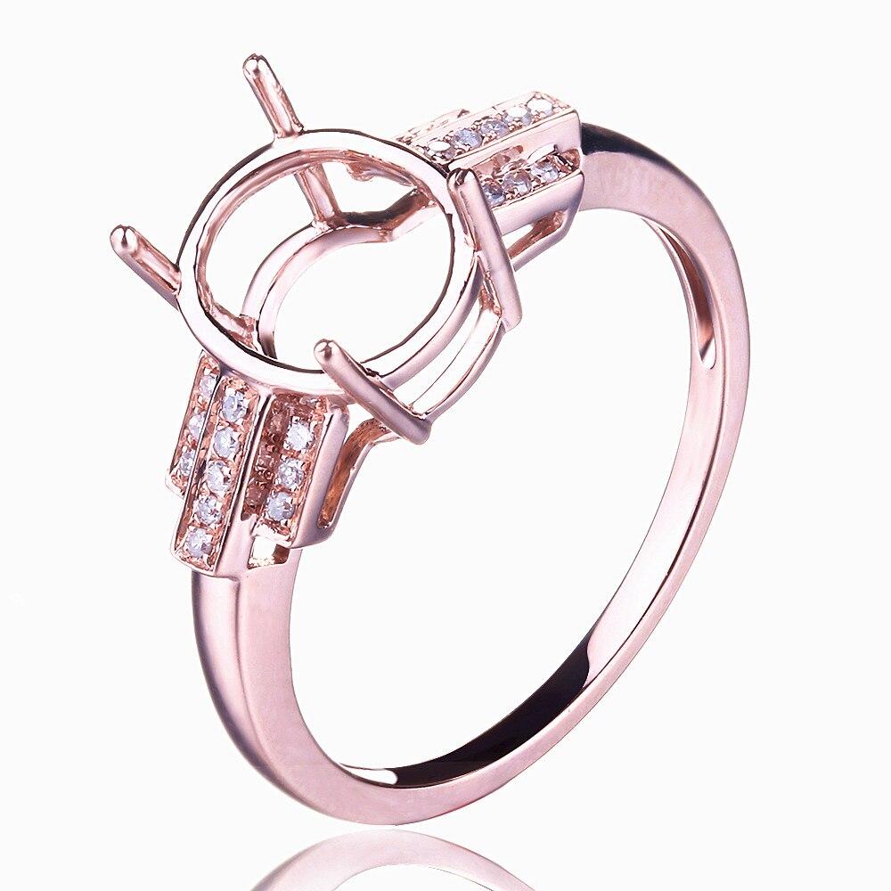 HELON Design spécial taille ovale 10x8mm solide 10K or Rose Pave diamant naturel bijoux fins fiançailles mariage Semi anneau de montage - 2