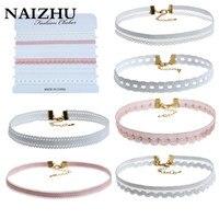 NAIZHU Lace Velvet White Choker Necklace For Women Harajuku Ribbons Collar Necklaces Jewerly 6PC/SET