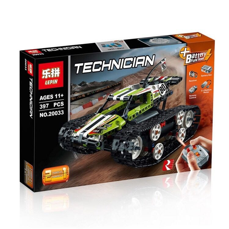 New Lepin 20033 Technic Series legoing The RC Track Remote-control Race Car Set Building Blocks Bricks Educational Toys 42065 glow race track bend flex glow in the dark assembly toy 112 160 256 300pcs slot race track 1pc led car puzzle educational toys
