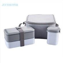 Japan Stil Doppelschichten Dichtung Sets Tragbare Kragen Ausgeschlossen Student Mikrowelle Lunchbox/Wasserflasche Kunststoff Mode Mittagessen Sets