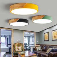Luces de techo led de madera nórdica modernas lámparas de techo de dormitorio coloridas redondas delgadas lamparas de iluminación de lámpara de techo 30cm 40cm