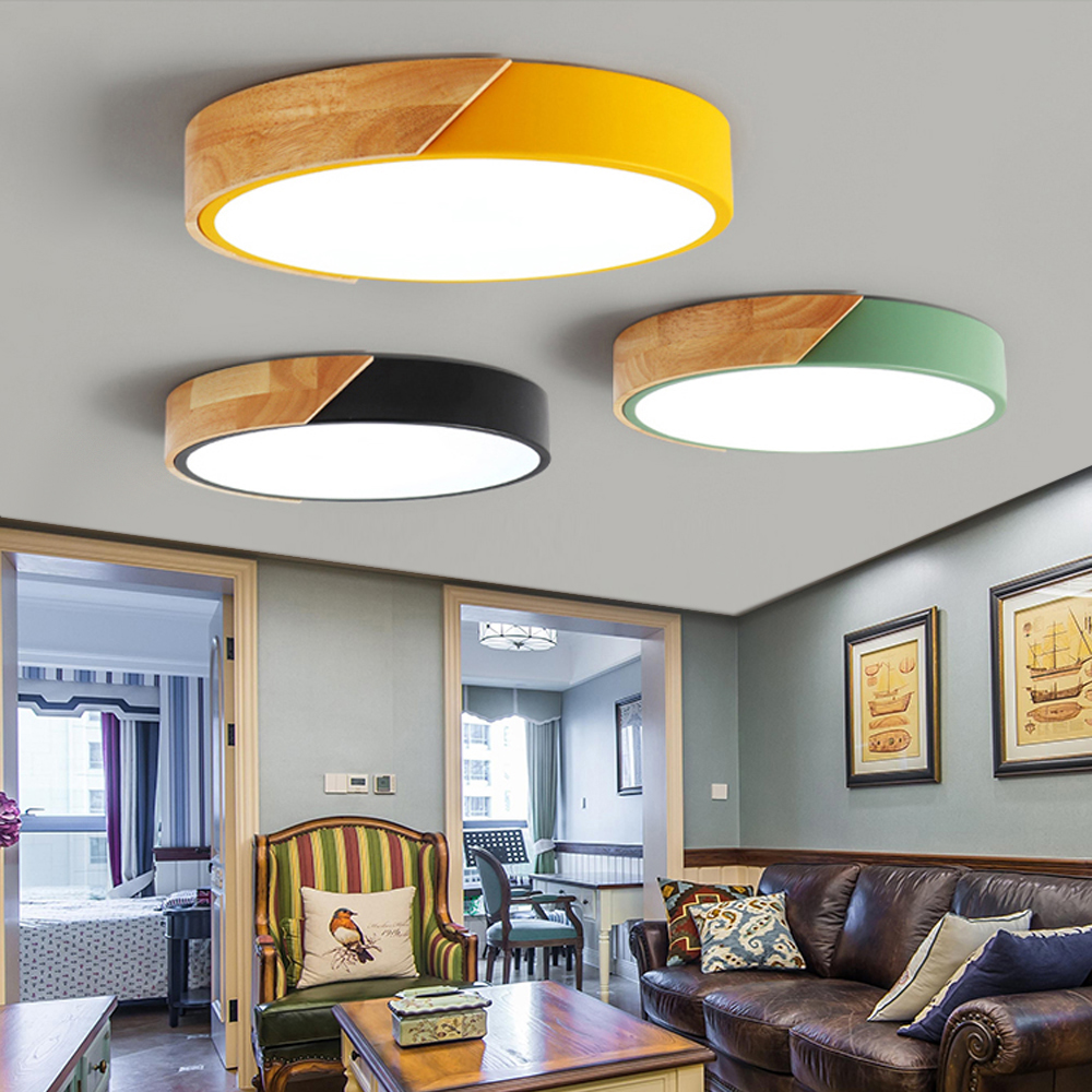 Nordic Wood led Ceiling Lights Modern Colorful Bedroom Ceiling Lamps ...