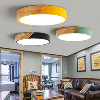 Nordic Wood led Ceiling Lights Modern Colorful Bedroom Ceiling Lamps Round thin plafondlamp Lighting lamparas de techo 30cm 40cm
