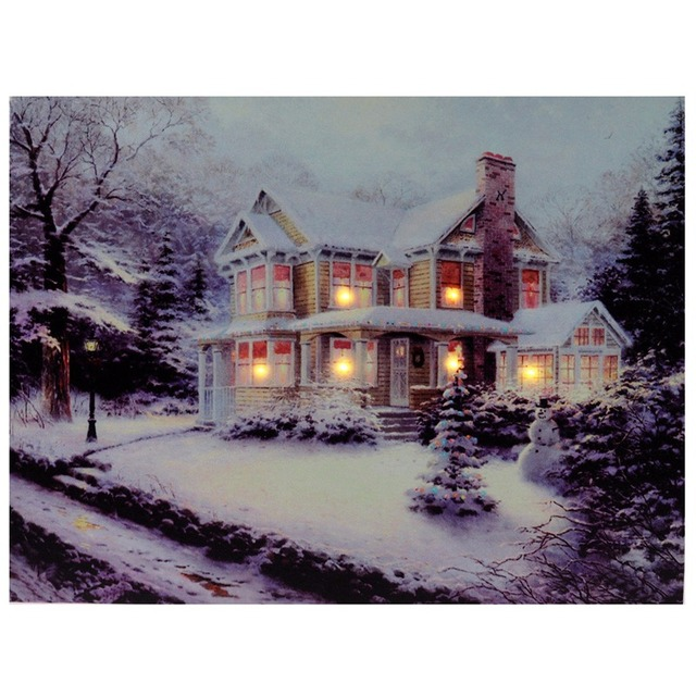 1pcs Christmas House Snowman Light Up LED Canvas Painting Art Picture Home Decoration Wall Picture Christmas Decor Art Gifts