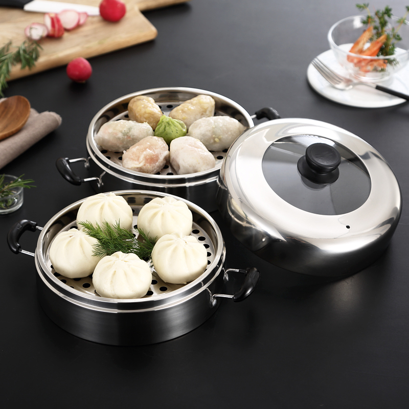 Steamer Stainless Steel Household Business Kitchen Kitchenware Steamed Pot Rack Rice Cage Layer Steamed Buns Food Pan Cover Lid