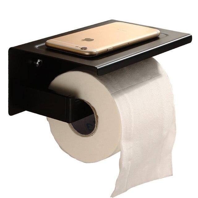 Aothpher porte papier toilette en acier inoxydable noir montage mural salle de bains de lavabo - Porte papier toilette noir ...