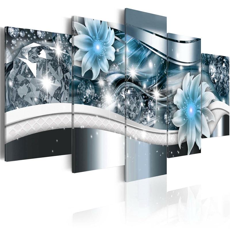 Купить современная картина на холсте с цветами и бриллиантами 5 панелей