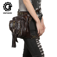 2017 Steam Punk Skull Waist Bag Women Gothic Tassels PU Leather Leg Bags Brown Rivet Cross Body Bag Fashion Phone Case Holder