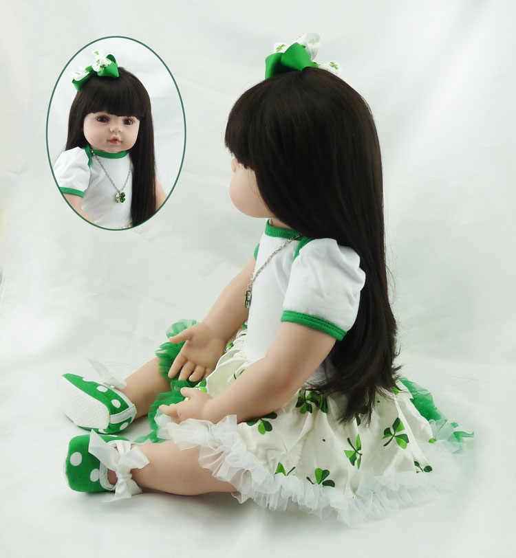 Bigs 60 см, От 6 до 9 месяцев Размер, кукла для новорожденной девочки, кукла-младенец, игрушки для новорожденной с длинными волосами, реалистичные детские куклы 100% ручной работы