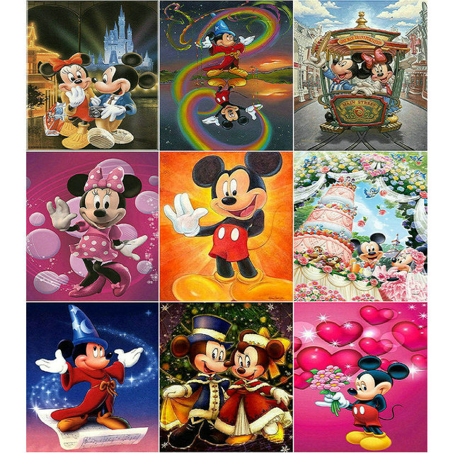 f52fbd8106 5D Diy Diamond Painting Cross Stitch cartoon Mickey mouse sticker Diamond  Embroidery Disney Crystal Square Mosaic Pictures