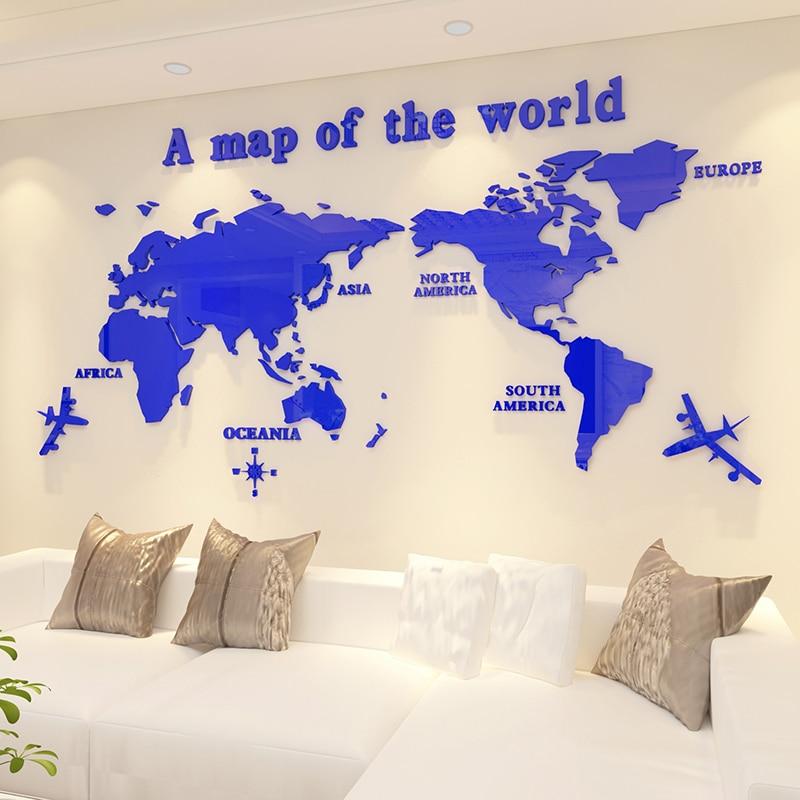 Carte du monde acrylique 3d mur autocollant salon canapé fond mur autocollant bureau mur décoration