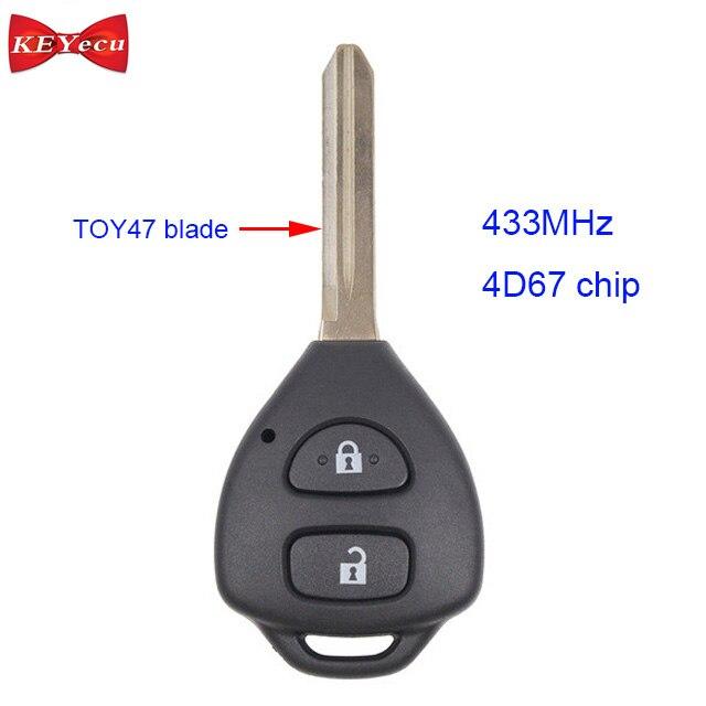 KEYECU pour Toyota RAV4 Europe 2006 2007 2008 2009 2010 Télécommande Clé De Voiture Fob 2 Boutons 433 mhz 4D67 puce TOY47 Lame Uncut