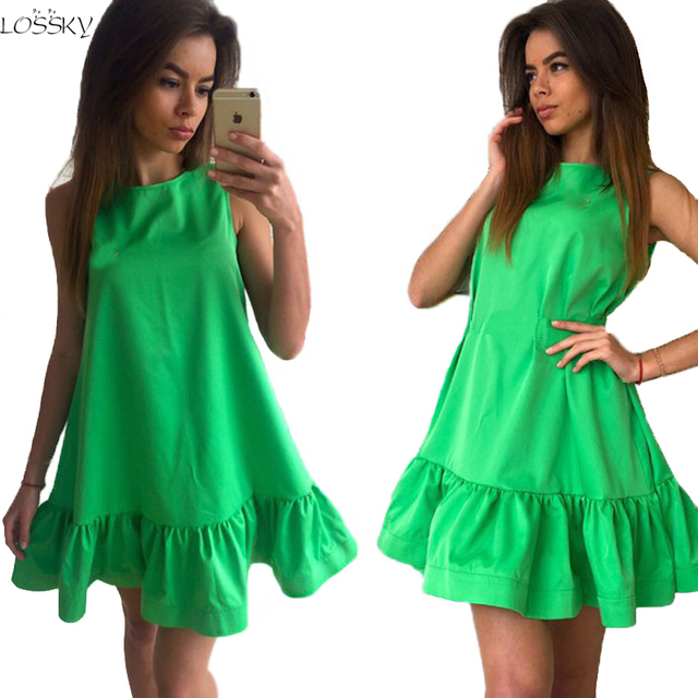 2017 Women's Vestidos Sexy Ruffles Dress Summer Sleeveless Casual A Line Bodycon Dress Women Party Plus Size Short Mini Dresses