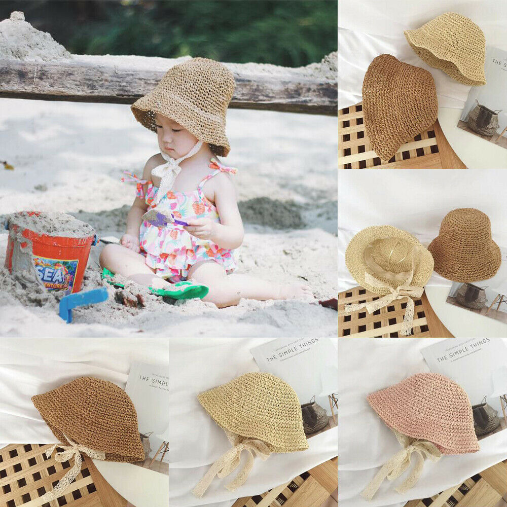 2019 Baby Summer Accessories Newborn Kids Baby Girl Boy Lace Trap Hats Princess Summer Bucket Straw Sun Hat Cap Wholesale Gifts