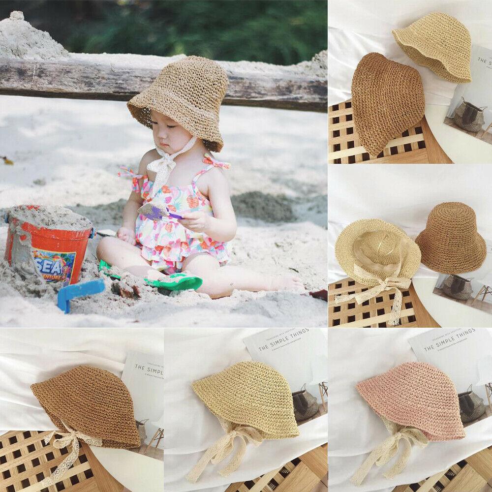 2019 Baby Summer Accessories Newborn Kids Baby Girl Boy Lace Trap Hats Princess Summer Bucket Straw Sun Hat Cap Wholesale Gifts