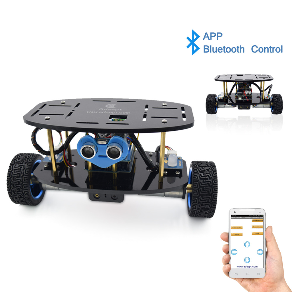 Adeept 2-Wheel Self-Balancing Upright Car Robot Kit for Arduino UNO R3 with PDF Instruction Book Android APP Remote Control 2 wheel drive robot chassis kit 1 deck