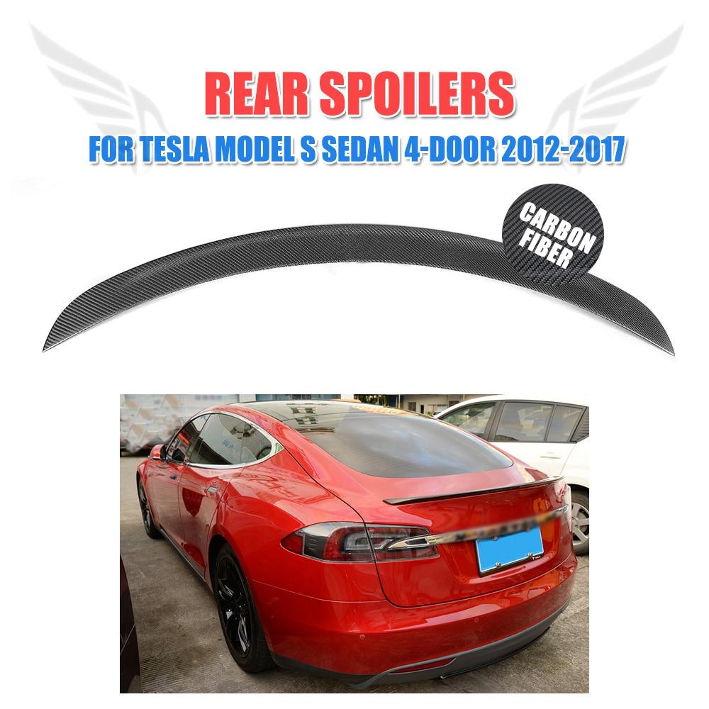 REAL Carbon Fiber Rear Trunk Boot Spoiler Lip For Tesla Model S Sedan 2012-2019