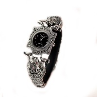 Jade Angel Women's Watch Thailand Vintage Style Leopard Marcasite Ladies Wristwatch Sterling Silver Jewelry