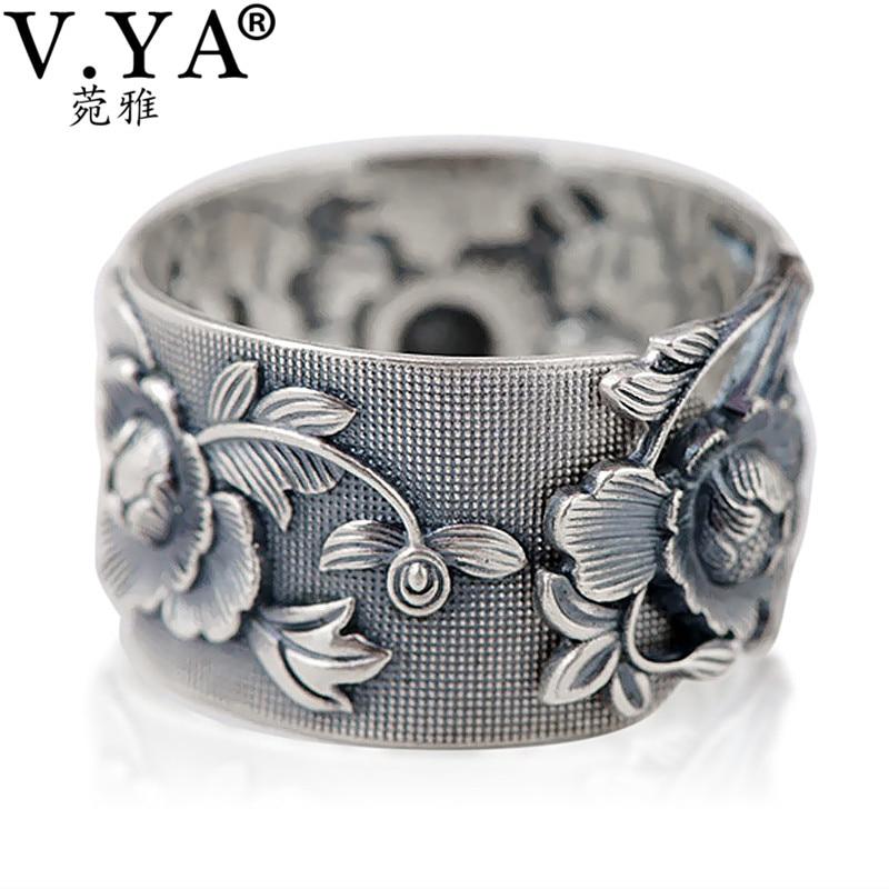 V. YA Vintage 999 Reinem Silber Relief Blume Ringe für Frauen Liebhaber Thai Silber Schmuck Zubehör Geburtstag Mutter Tage Geschenk
