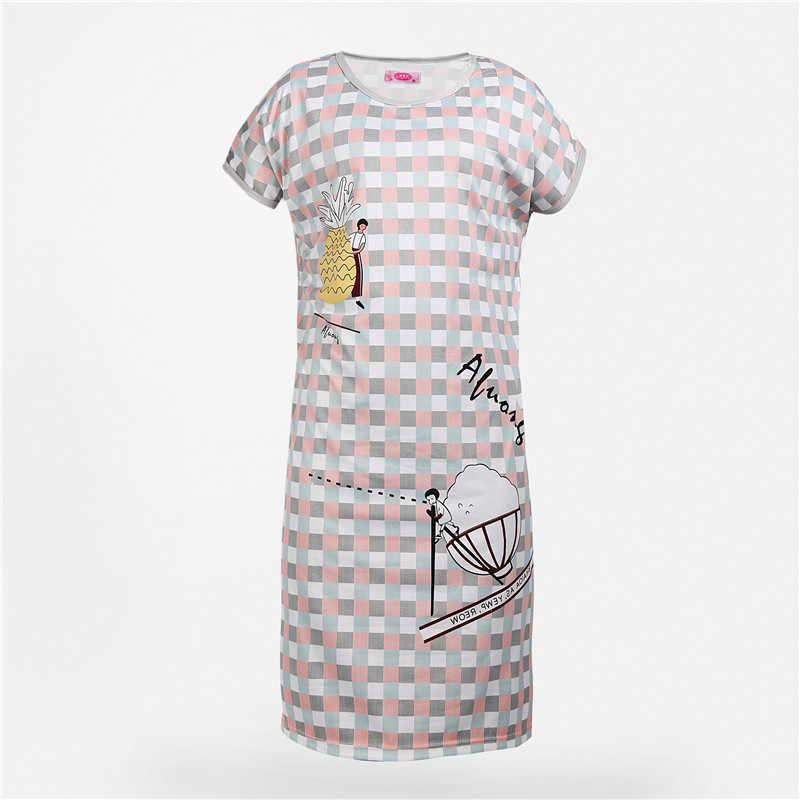 Desain Kartun Leher Bulat Lengan Pendek Baju Tidur Wanita Gratis Ukuran Malam Rok Baju Tidur Baju Tidur Wanita Baju Tidur
