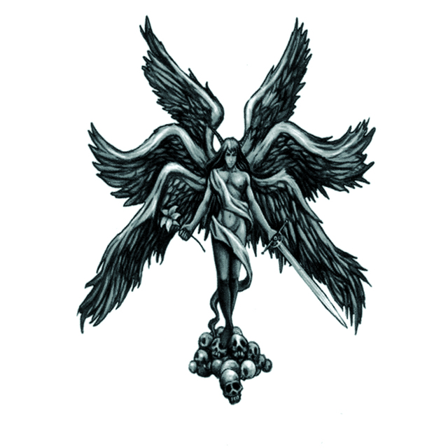 Six wing fighting angel Gabriel Waterproof Temporary Tattoos Men ...