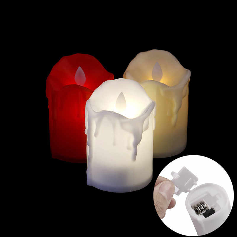 LED Battery Powered LED Candle Multicolor Lamp Simulation Color Flame Flashing Tea Light Home Wedding Birthday Party Decoration