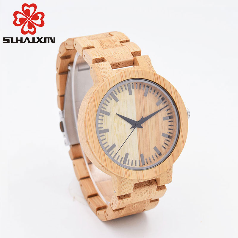 SIHAIXIN Minimalist Vintage Bamboo Wood Watches For Men Elegant Creative Series All Wooden Straps Japan Quartz Watch Male Gift