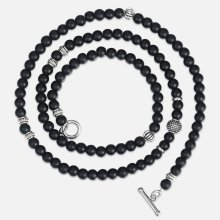 Unique Men's Necklace Silver Stainless Steel Arrow Pendant Matte Black Glass Beaded Necklace Male Jewelry