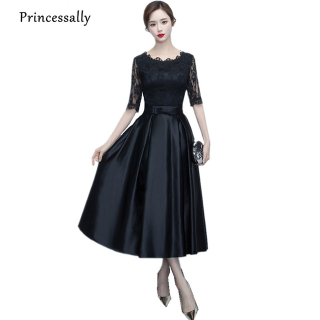 e35f4e8618cbb4 Princessally Zwart Satijn Avondjurk Half Mouw Bruid Banket Elegante  Homecoming Jurk Formele Prom Party Jurk Robe