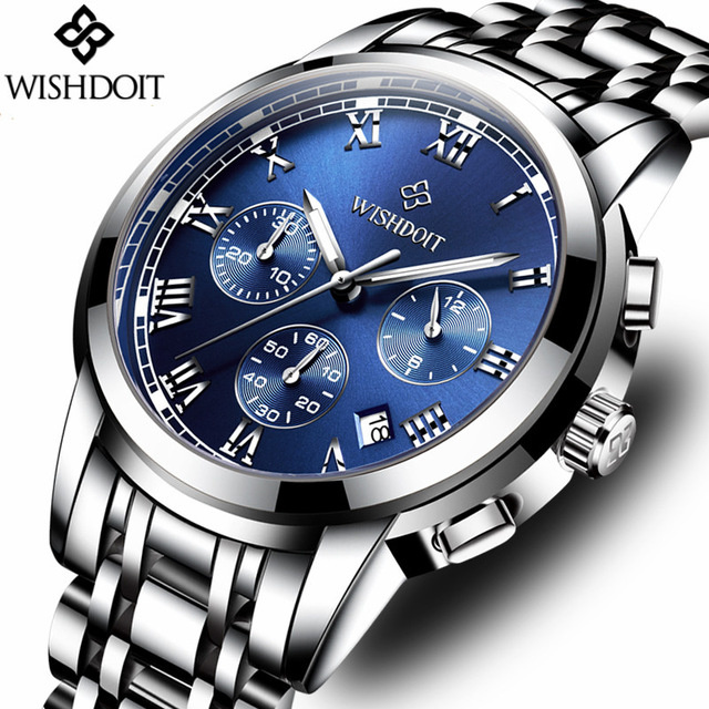 2018 WISHDOIT Top Brand Men Stainless Steel Watch Men's Fashion Business Quartz