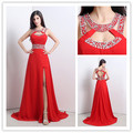 Sexy Red Long Evening Dresses Cheap In Stock Side Slit Prom Dress Beaded Sequins Backless Formal Party Prom Gowns Vestidos DH5
