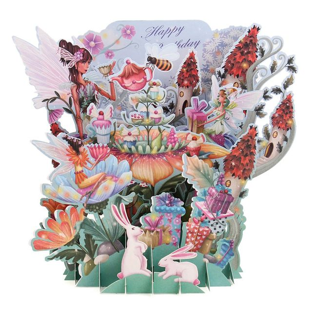 Online shop best price flower fairy diy 3d pop up greeting card best price flower fairy diy 3d pop up greeting card laser cut origami paper craft happy birthday greeting card postcards gift mightylinksfo