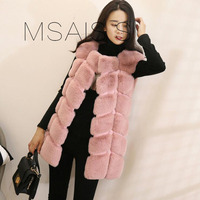 MSAISS Winter Fur Vest Coat Luxury Faux Fox Warm Women Coats Vest Fashion Fur Women's Coat Jacket Vest Fur Coat
