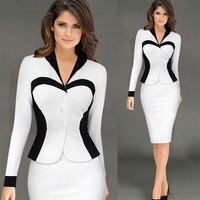 Liva girl yeni kadın zarif yaka patchwork faux twinset İki adet parti ofis kılıf bodycon dress çalışmak